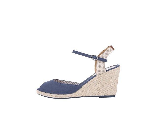 Tmavě modré dámské sandálky na klínku Pepe Jeans e2dece4d12