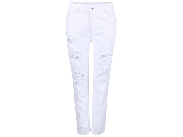 Bílé dámské džíny s roztrhaným efektem Pepe Jeans Vagabond ed1db5f065